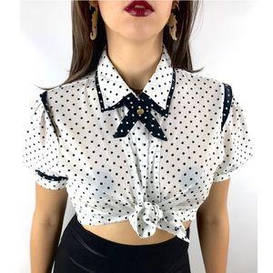 Vintage white with black polka dot sailor shirt